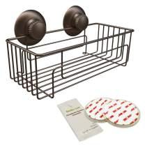 Gecko-Loc Suction Cup Shower Caddy Bath Organizer - Bathroom Storage Basket (Bronze, Deep)