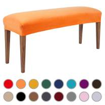 Colorxy Velvet Bench Covers for Dining Room - Stretch Spandex Upholstered Bench Slipcover Rectangle Removable Washable Bench Furniture Seat Protector for Living Room, Bedroom, Kitchen (Orange)