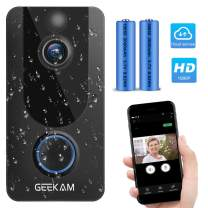 Geekam Wireless Video Doorbell Camera 1080P HD WiFi Smart Security Free Cloud Recording with PIR Motion Detection/Night Vision/Two-Way Talk/Real-Time Notification for iOS&Android