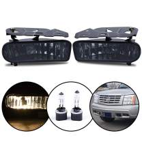 For Cadillac Escalade 2002 2003 2004 2005 2006 Front Bumper Fog Lights Assembly Driving Fog Lamps Replacement w/ 899 12V 37.5W Bulbs (OE Style Smoke Lens)