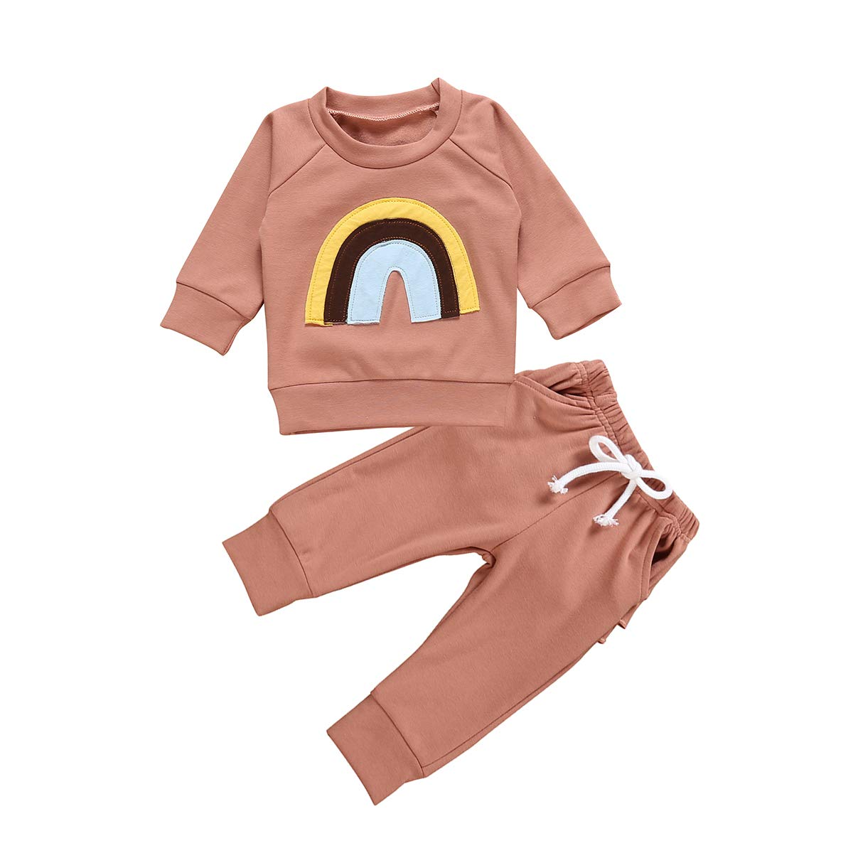 Infant Baby Girls Outfits Rainbow Print Long Sleeve Pullover T-Shirt Tops + Ruffle Pant Clothes Set