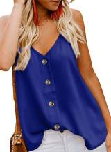 Jug&Po Womens Button Down V Neck Loose Sleeveless Strappy Cami Tank Tops Casual Shirts Blouses(Blue,Large)