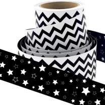 Black and White Chevron Bulletin Board Borders Double-Sided Star Straight Border Trim for Classroom Decoration Bulletin Board Chalkboard Whiteboard 36ft