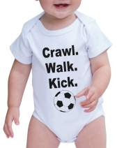7 ate 9 Apparel Baby Boy's Crawl. Walk. Kick. Onepiece 3-6 Months Black and White