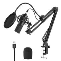 FIFINE USB Streaming Podcast Microphone Kit, Plug & Play Cardioid Condenser PC Mic with Boom Arm, Metal Shock Mount, Pop Filter and Windscreen for Youtube, Gaming, Recording Music, Vocal, Discord-780A