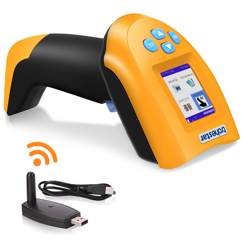 trohestar NS2203 Wireless Barcode Scanner 1D USB Handheld Bar Code Reader Laser Cordless Data Collector Portable Terminal Inventory Device (Yellow)