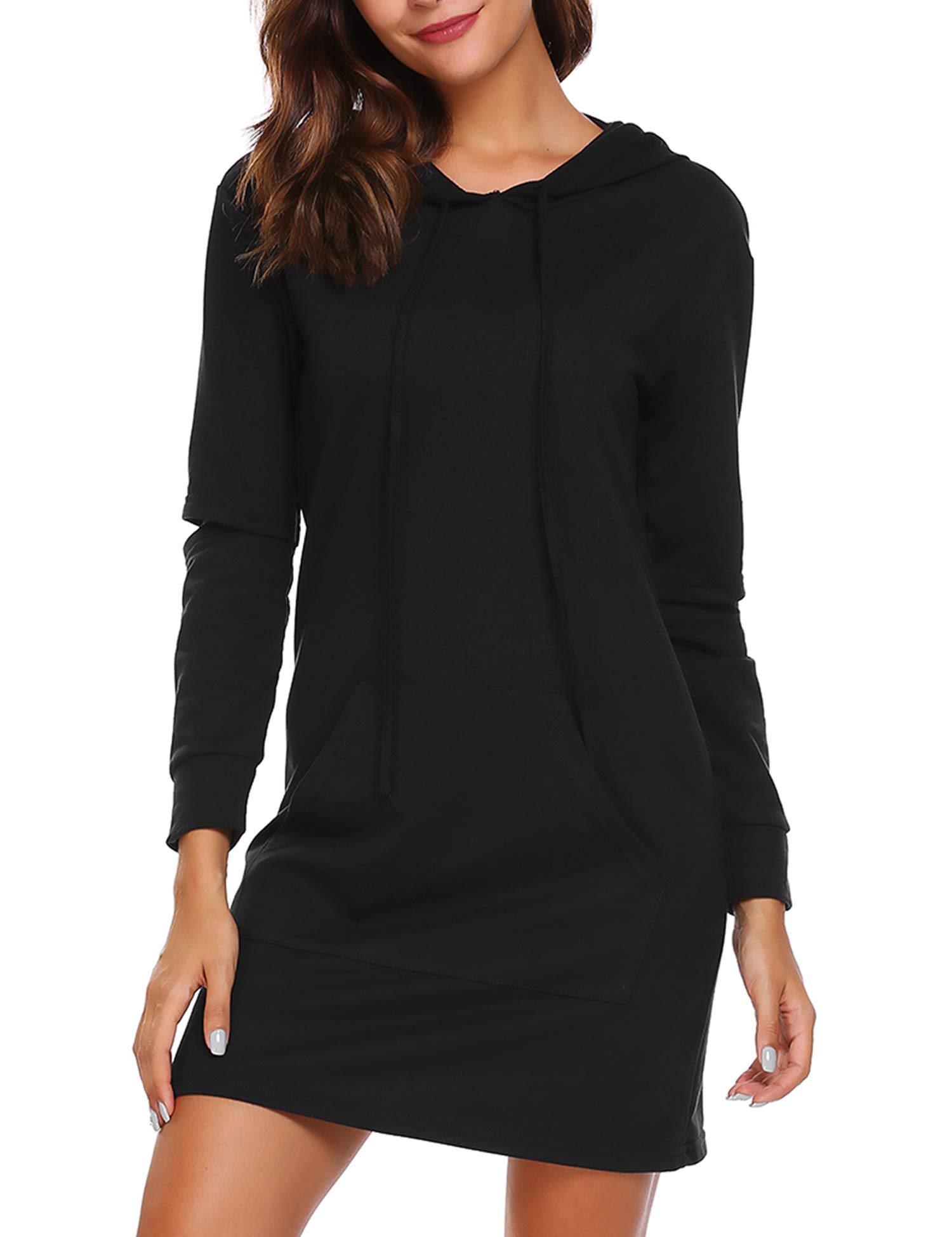 Zeagoo Women's Pullover Hoodie Sweatshirt Dress Loose Fit Long Sleeve with Kangaroo Pocket