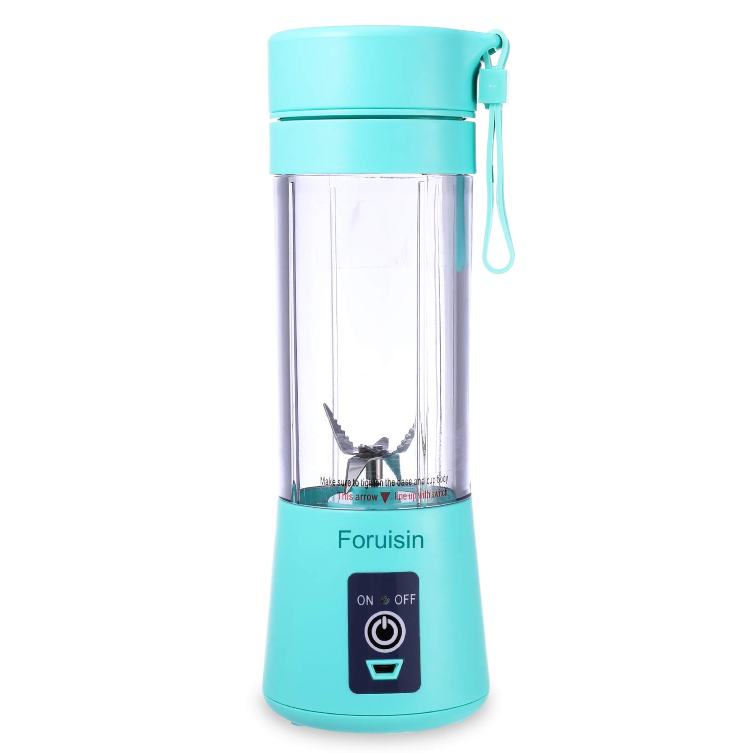 Portable Personal Blender, Household Juicer Fruit Shake Mixer -Six Blades, 380ml Baby Cooking Machine with USB Charger Cable (Cyan)