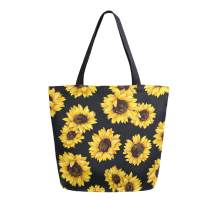 ALAZA Watercolor Yellow Sunflower Blossom Grocery Reusable Tote Bag Women Large Casual Handbag Shoulder Bags for Shopping Groceries Travel Outdoors