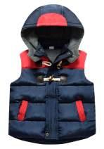 Happy Cherry Kids Winter Padded Vest Zipper Hooded Sleeveless Puffy Jacket