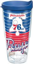 Tervis NBA Philadelphia 76ers Old School Tumbler with Wrap and Blue Lid 24oz, Clear