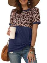 Ivay Womens Leopard Short Sleeve T Shirts Crew Neck Knot Twist Patchwork Casual Loose Tunic Tops