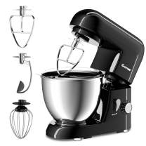 COSTWAY Stand Mixer 4.3 Quart 6-Speed 120V/550W 3 Attachments Offer Tilt-head Electric Food Mixer w/Stainless Steel Bowl (Painted-Black)