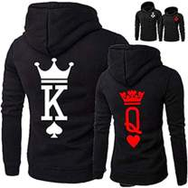 AWON King Queen Hoodies Couple Matching Long Sleeve Pullover Hoodie Sweatshirts Set
