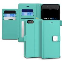 iPhone 7 Plus Case, ModeBlu [Mode Diary Series] [Mint] Premium Synthetic Leather [Stand View] for Apple iPhone 7 Plus (2016)