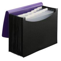 Smead Poly Expanding File Folder, 12 Pockets, 12 Customizable Tiered Tabs, Flap and Cord Closure, Letter Size, Wave Pattern Purple/Black (70862)