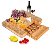 SMAGREHO Bamboo Cheese Board with Cutlery Set Wood Charcuterie Platter, Serving Tray with Slide-Out Drawer - 4 Piece Stainless Steel Knife Set