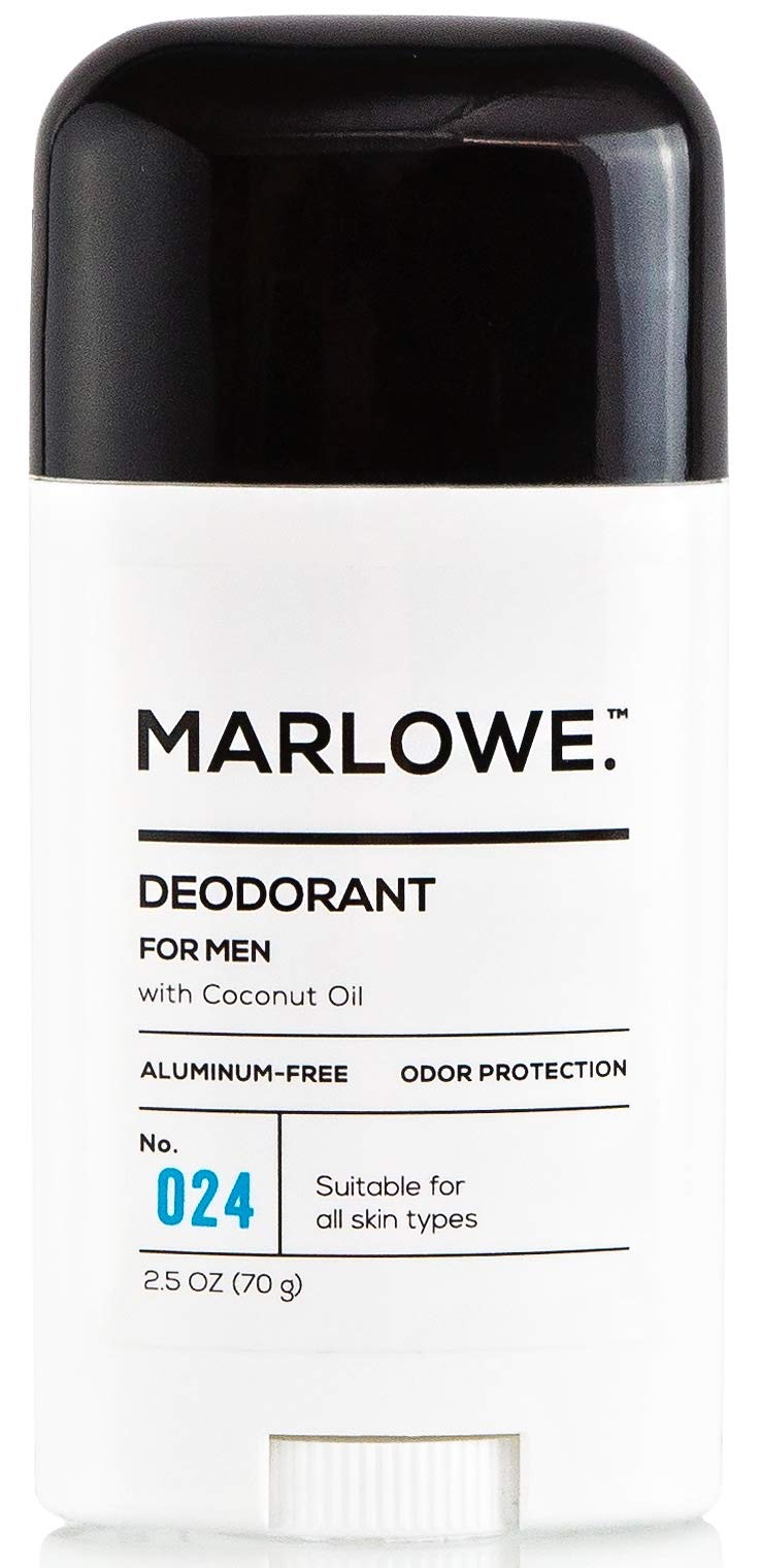 MARLOWE. No. 024 Natural Deodorant for Men 2.5oz   Aluminum Free Stick   Made with Coconut Oil, Shea Butter, Jojoba   Only No-Nonsense Ingredients that Work Best   Fresh & Woodsy Scent