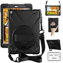 Litchi iPad 7th Generation Case, iPad 10.2 Case 2019 with Pencil Holder/Rotatable Stand Hand Strap and Shoulder Belt, Heavy Duty Rugged Protective Case for iPad 10.2 inch 2019 Release