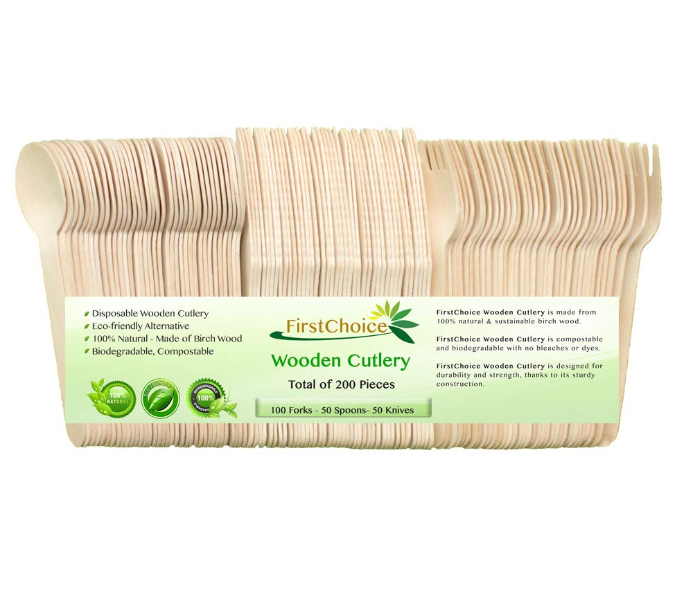"""Disposable Wooden Cutlery Sets - 200 Piece Total: 100 Forks, 50 Spoons, 50 Knives, 6"""" Length Eco Friendly Biodegradable Compostable Wooden Utensils Wooden Cutlery"""