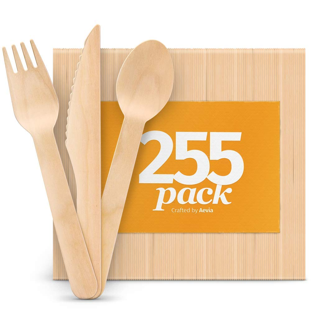 """Disposable Wooden Cutlery Set - Natural, Eco-Friendly, Biodegradable, Compostable - Great Alternative to Plastic or Bamboo Utensils - Pack of 255 (85 Forks, 85 Spoons, 85 Knives - 6.5"""") By Aevia"""