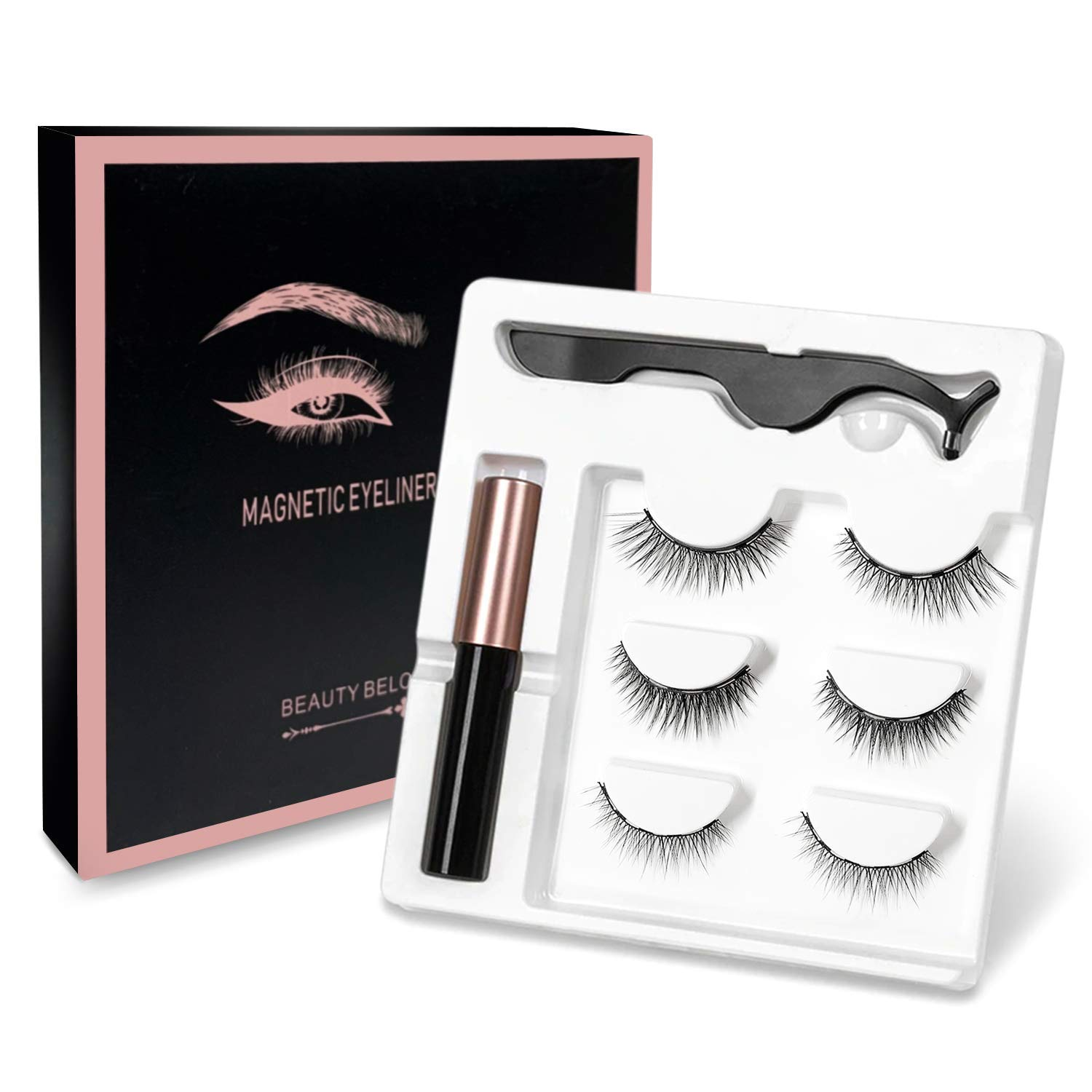 Magnetic Eyelash and Eyeliner Kit - Magnetic Eyeliner for Magnetic Lashes Set, Reusable False Lashes Different Style with Tweezers (Three pairs)