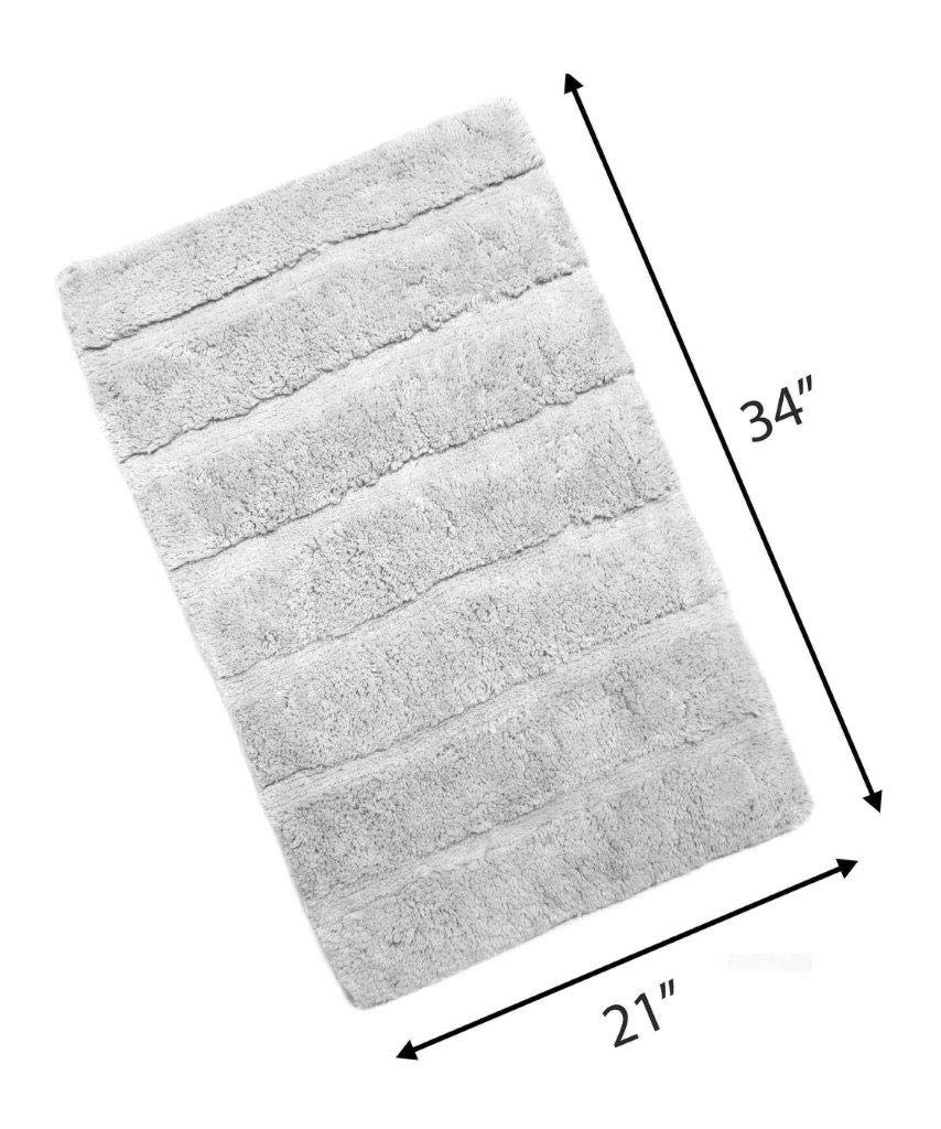 """Woven St Tufted Luxury Cotton Bath Rug Floor mat Super Soft for Spa Vanity Shower Machine Washable Bath Rug for Bathroom/Kitchen Water Absorbent Anti-Skid Bedroom Area Rug (21"""" x 34"""")- Light Grey"""