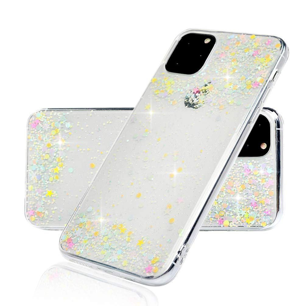 iPhone 11 Pro Max Glitter Case, Bling Slim Fit Protective Case for iPhone 11 Pro Max,Shockproof Anti-Scratch Anti-fingerprin Skin Sparkle Star Case Cover