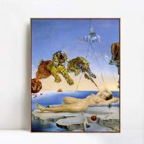 "INVIN ART Framed Canvas Giclee Print Art Dream Caused by The Flight of a Bee Around a Pomegranate. One Second Before Awakening by Salvador Dali Wall Art(Wood Color Slim Frame,24""x32"")"