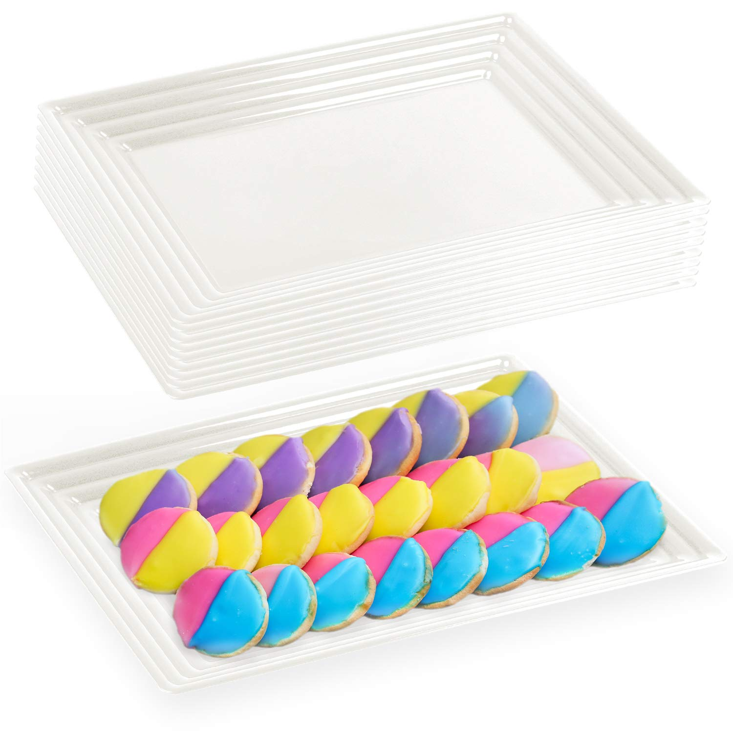 """Elegant Disposable Plastic Serving Trays 24 Pcs – Heavyweight Fancy 11""""x16"""" Rectangular White Large Serving Platters - Reusable Party Appetizer Tray For Wedding, Thanksgiving, Birthday & All Occasions"""