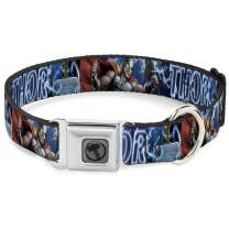 Buckle-Down Dog Collar Seatbelt Buckle Avengers Thor Hammer Action Pose Galaxy Blues White Available in Adjustable Sizes for Small Medium Large Dogs