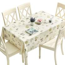 DUOFIRE Vinyl Tablecloth Rectangle Heavy Weight Table Cover Wipe Clean Waterproof (53 x 102 Inch, Color-No.003)
