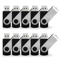 JUANWE 10 Pack 16GB Bulk USB 2.0 Flash Drive Swivel Thumb Drive Jump Drive Memory Stick Pen Drive - Black