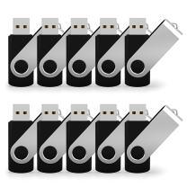 JUANWE 10 Pack 8GB Bulk USB 2.0 Flash Drive Swivel Thumb Drive Jump Drive Memory Stick Pen Drive - Black