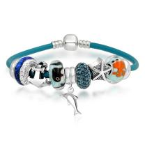 Nautical Theme Dolphin Whale Anchor Starfish European Bead Charms Bracelet Genuine Leather For Women Sterling Silver