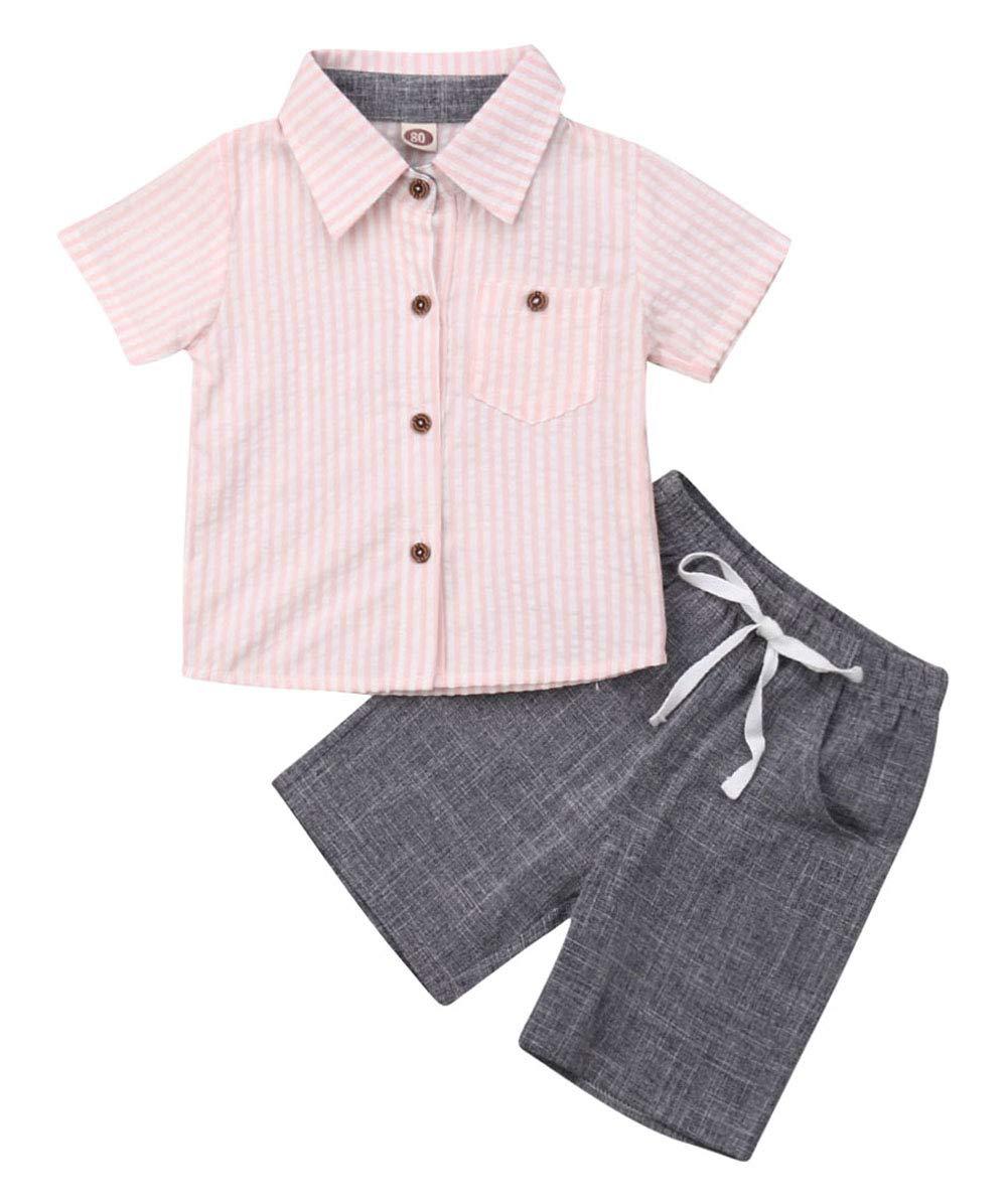Toddler Baby Boy Dinosaur Shirt Top Short Pants Gentleman Summer 2Pcs Outfit Set