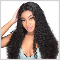Curly Human Hair Wigs, VIPbeauty Brazilian Deep Wave Curly Human Hair Lace Front Wigs for Black Women 130% Density Glueless Lace Frontal Wigs with Pre Plucked Baby Hair(14 Inch, Nature Color)