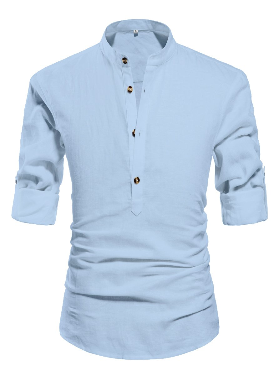 ZYFMAILY Men's Long-Sleeve Linen Henley Shirt Plain Summer Shirt