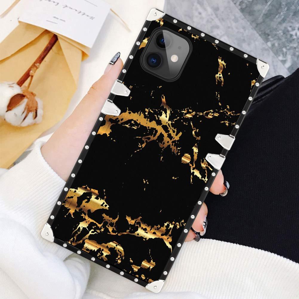 SOKAD iPhone 11 Case 6.1 Inch Square Gold Black Marble Luxury Elegant Soft TPU Shockproof Protective Metal Decoration Corner Back Cover Case