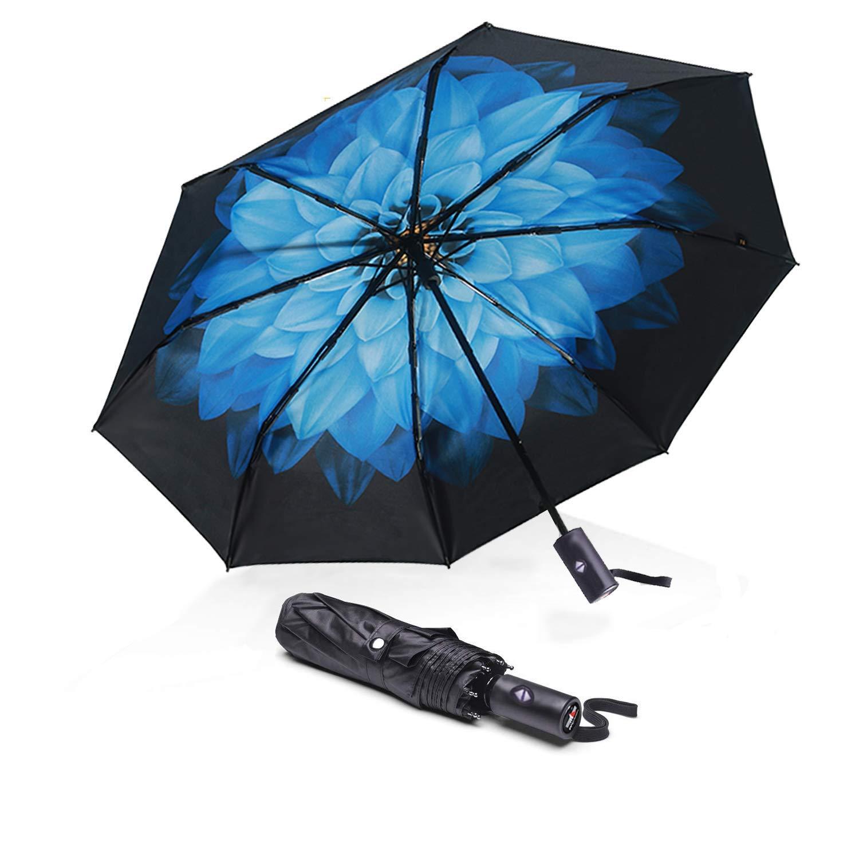 ABCCANOPY Umbrella Compact Rain&Wind Teflon Repellent Umbrellas Sun Protection with Black Glue Anti UV Coating Travel Auto Folding Umbrella, Blocking UV 99.98%,blue flower