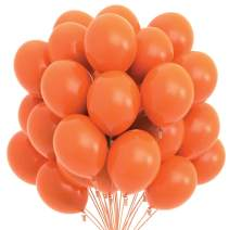 Prextex 75 Orange Party Balloons 12 Inch Orange Balloons with Matching Color Ribbon for Orange Theme Party Decoration, Weddings, Baby Shower, Birthday Parties Supplies or Arch Décor - Helium Quality