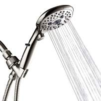 Shower Head with Handheld, Shower Heads with Hose, High Pressure Showerhead with ON OFF Switch, 6 Spray Setting, 70.8 inch Hose,Self-cleaning Silicone Nozzles(Brushed Nickel)