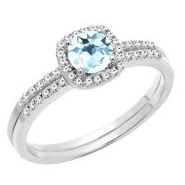 Dazzlingrock Collection 10K 5 MM Round Gemstone & Diamond Bridal Halo Engagement Ring With Matching Band Set, White Gold