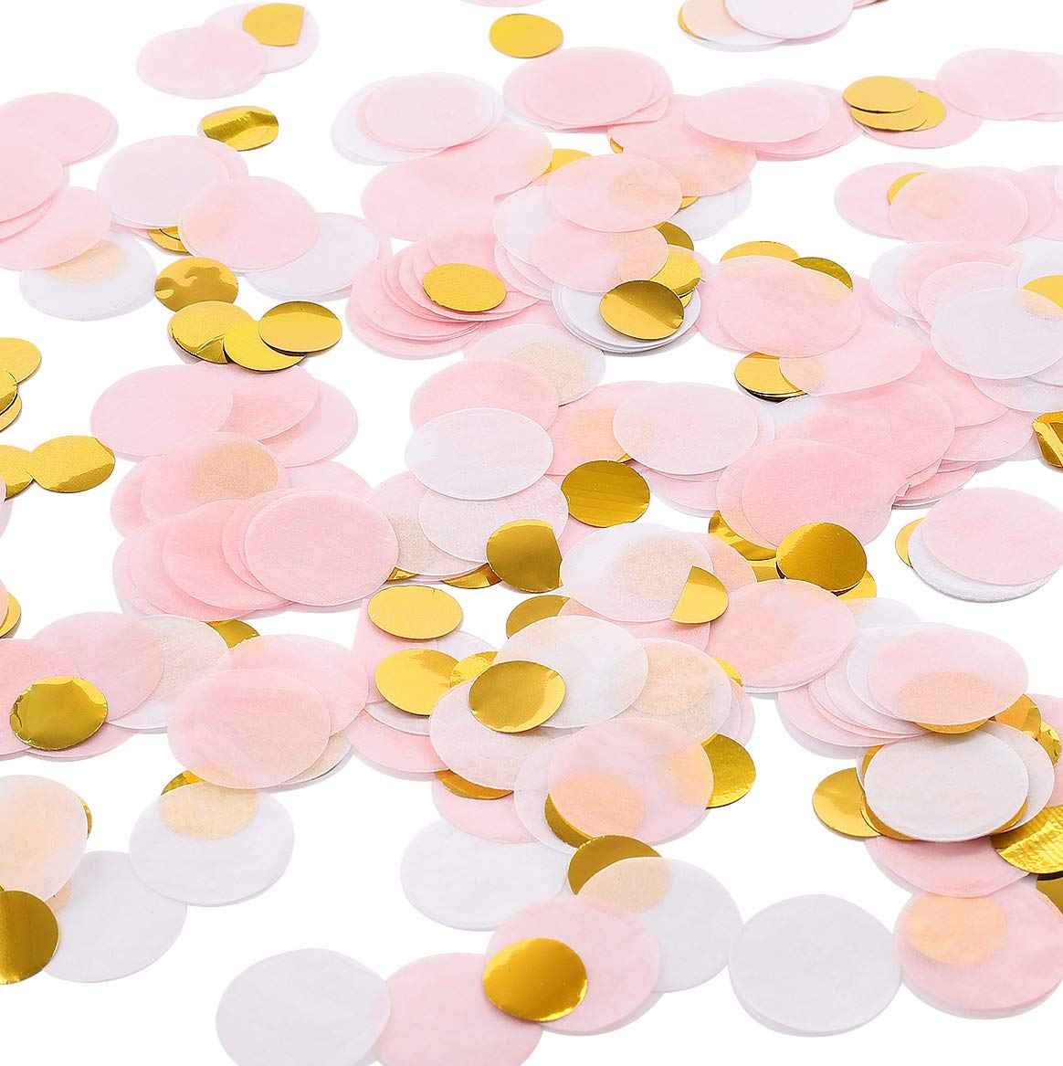 Whaline Round Tissue Confetti 6000 Pcs Paper Table Wedding Confetti Dots for Wedding,Birthday Party,Baby Shower,Valentine's Day and Balloon Decorations,1 Inch (Pink,White, Gold)