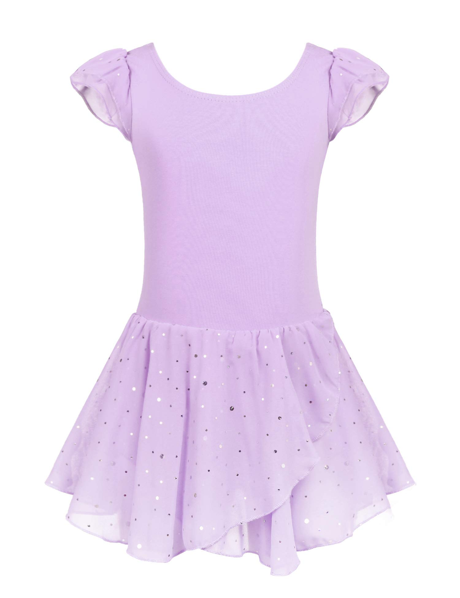 Arshiner Girls Ruffle Sleeve Ballet Dance Dress Tutu Skirted Leotard