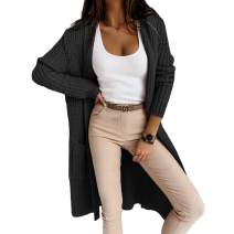 Cicy Bell Women's Casual Open Front Hooded Cardigan Long Sleeve Oversized Chunky Knit Sweater Coat with Pockets