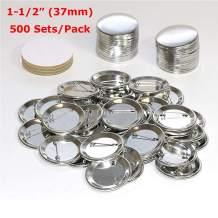 "INTBUYING 500 Sets 1-1/2"" (37mm) Badge Button Pin Round DIY Button Parts Metal Pin Back Button for Button Making Machine"