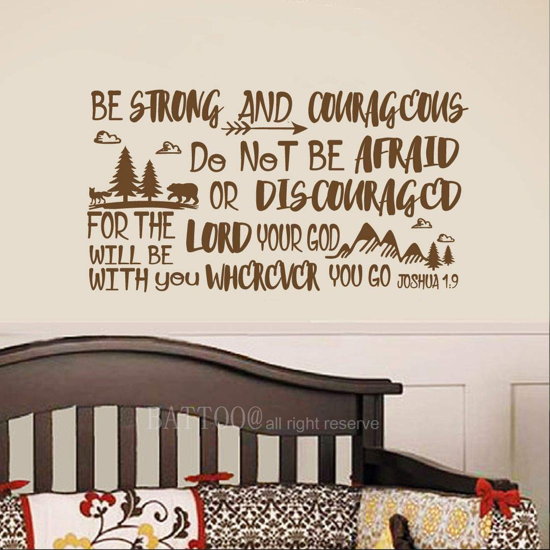 """BATTOO Be Brave Strong and Courageous- Joshua 1:9 Bible Scripture Wall Decal Quotes for Boys Room Boys Nursery Baby Room Vinyl Letters Inspirational Wall Decor(Brown, 22"""" WX12 H)"""