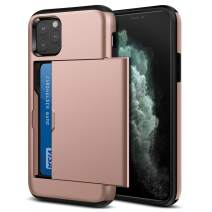 Jiunai iPhone 11 Pro Case, Slim Card Holder Wallet Slide Cover for Credit Card Dual Layer Protective Shockproof Anti Scratch Hard PC & Soft TPU Cover Case for iPhone 11 Pro 5.8 inches 2019 Rose Gold