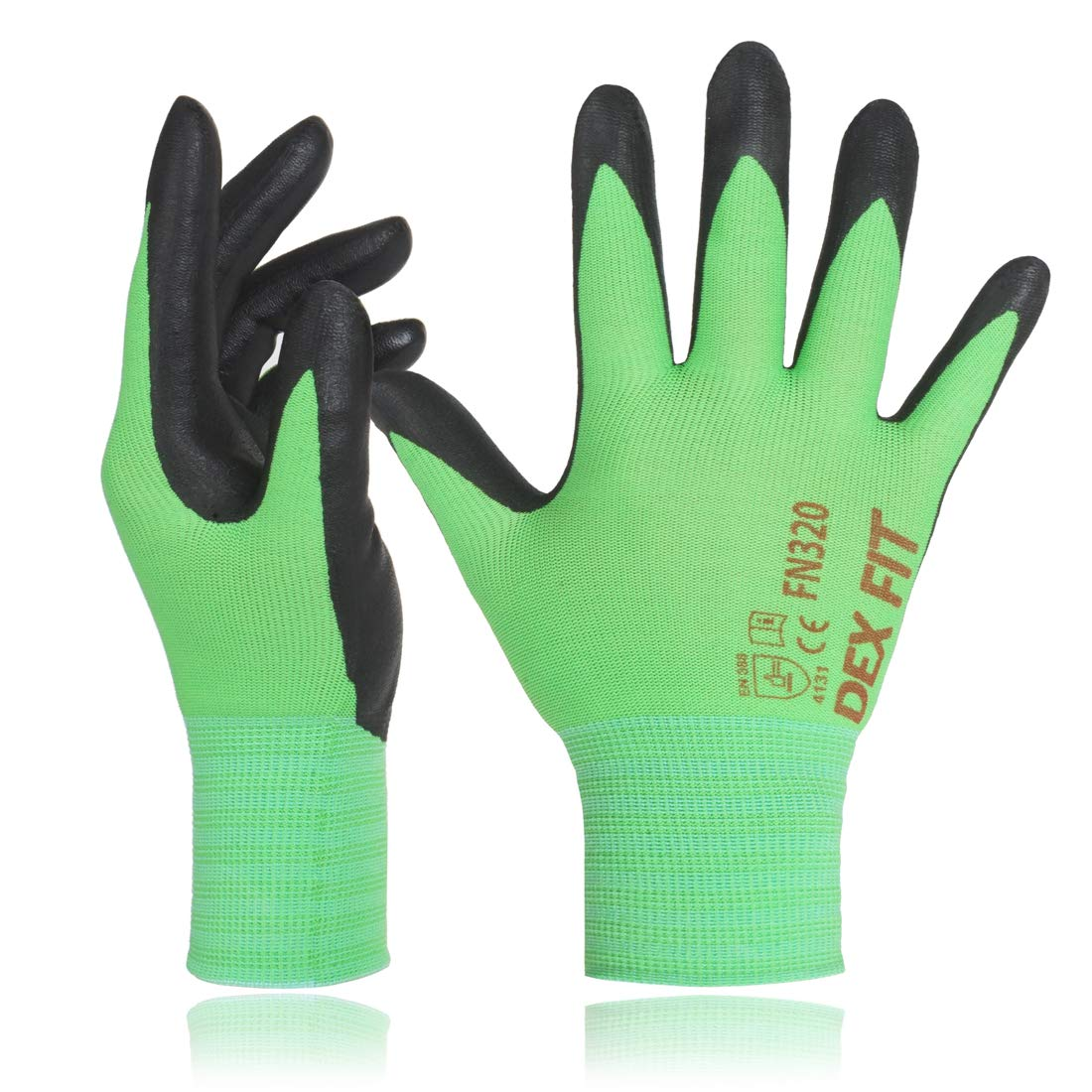DEX FIT Gardening Work Gloves FN320, 3D Comfort Stretch Fit, Power Grip, Thin Lightweight, Durable Foam Nitrile Coating, Machine Washable, Green X-Small 3 Pairs Pack